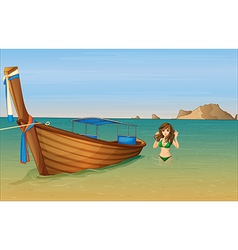 A girl near the wooden boat vector image vector image