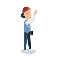A young man in a cap standing with tablet cartoon vector