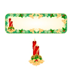 Banner christmas spruce with red candlestick vector