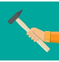 Carpenter hammer tool in hand vector