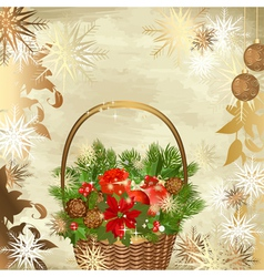 christmas decoration basket vector image vector image