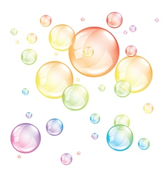 Colored transparent bubbles isolated vector