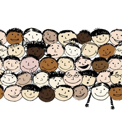 Crowd of funny peoples seamless background for vector image vector image