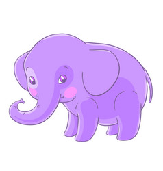 Cute purple elephant in a cartoon style vector