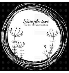 Cute sketch flower retro postcard vector image vector image
