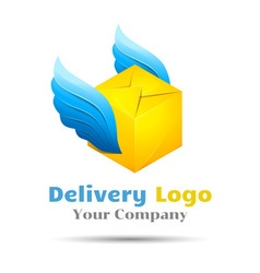 Delivery colorful 3d volume logo design corporate vector