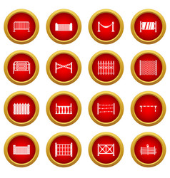 Fencing icon red circle set vector