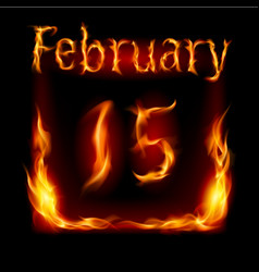 fifteenth february in calendar of fire icon on vector image vector image
