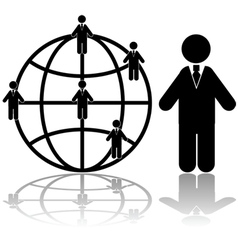 Global business connections vector image vector image