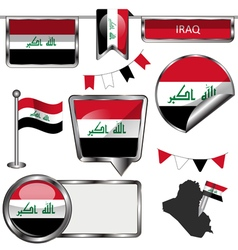 Glossy icons with iraqi flag vector