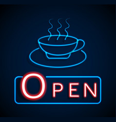 Glowing neon open signs vector
