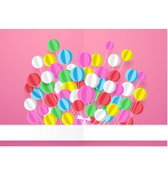 Happy birthday banner with colorful balloons vector