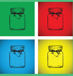 jam jar colourful set vector image vector image