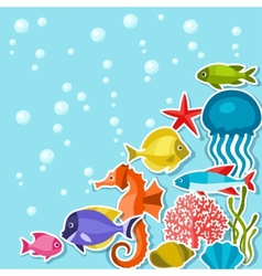 Marine life sticker background with sea animals vector image