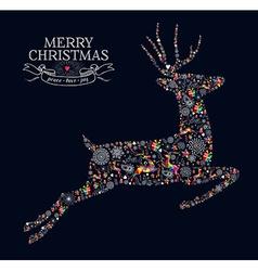 Merry Christmas vintage reindeer greeting card vector image