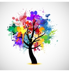 Multi colored paint splat abstract tree vector image