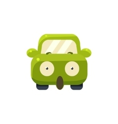 Shocked green car emoji vector