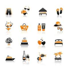 vacation travel recreation icons set vector image vector image