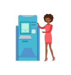 Woman standing next to atm cash machine bank vector