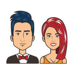 Young couple avatars characters portrait people vector