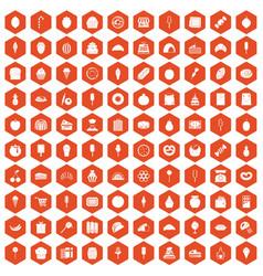 100 confectionery icons hexagon orange vector