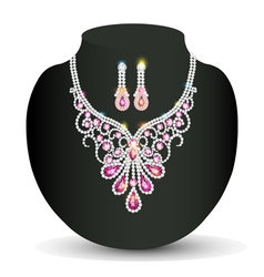 Necklace with her wedding with pink vector