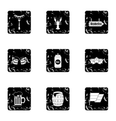 Alcoholic beverage icons set grunge style vector