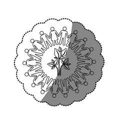 sticker silhouette teamwork human people circle vector image