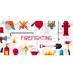Banner with firefighting items fire protection vector