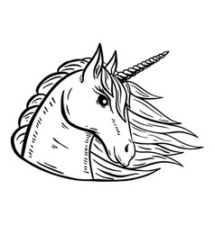 unicorn head hand drawn isolated on white vector image