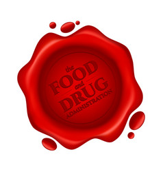Food and drug administration red wax seal with vector