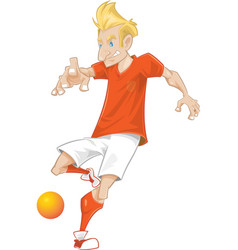 Dutch soccer player ready to kick vector
