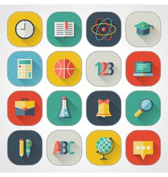 School and education flat design icons set vector