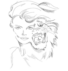 A woman and tiger in one guise vector