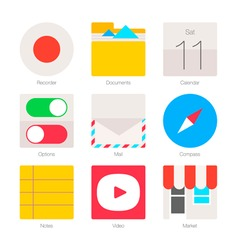 Minimal flat icons for mobile phones set 3 vector