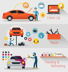 Car check up repair refinishing banner vector