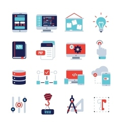 Programm development flat icon set vector