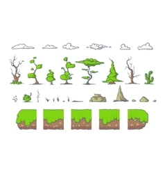 Tile set for platformer game seamless vector