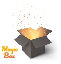 Realistic magic open box magic box with confetti vector