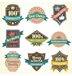 Quality and guarantee labels vector