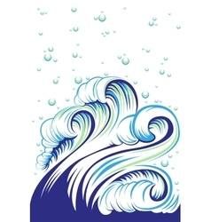 Blue high sea wave with bubbles vector