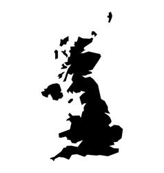 Black silhouette map of united kingdom vector