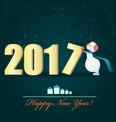 Happy snowman and a big 2017 letter vector