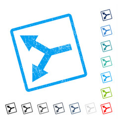 Bifurcation arrow left icon rubber watermark vector