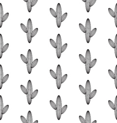 Black and white cactus pattern vector
