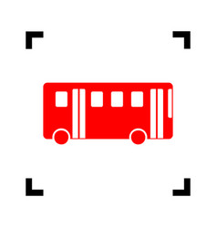 bus simple sign red icon inside black vector image