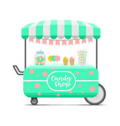 candy shop street food cart colorful image vector image