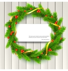 Christmas wreath fir branches red berries vector image vector image