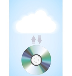 computer cloud with disc vector image
