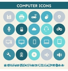 Computer icon set Multicolored flat buttons vector image